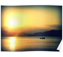 Sanya Boat at Sunset, China Poster