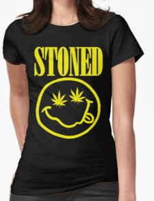 Stoned - yellow on black Womens Fitted T-Shirt