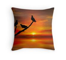 Birds at Sunset point-2 Throw Pillow