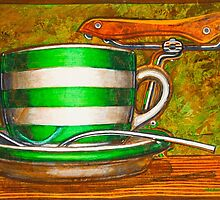 Cafe Art striped cup with bicycle saddle by markhowardjones