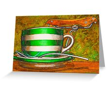 Cafe Art striped cup with bicycle saddle Greeting Card