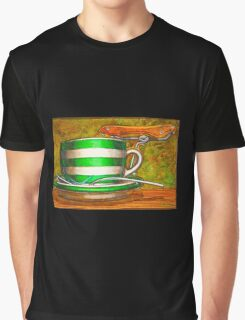 Cafe Art striped cup with bicycle saddle Graphic T-Shirt