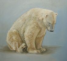 Polar bear sitting by Carole Russell