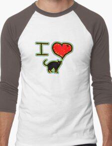 i love black cats Men's Baseball ¾ T-Shirt