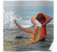 Mermaid with Starfish Poster