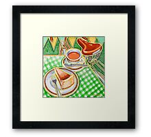 Eroica Britannia Bakewell Pudding and cup of tea on green Framed Print
