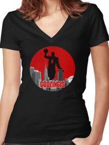 Godzingis - Red Women's Fitted V-Neck T-Shirt