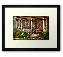 House - Porch - Belvidere, NJ - A classic American home  Framed Print
