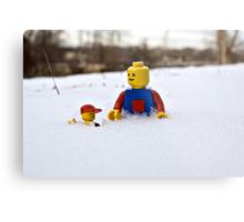 Father/Son Snowy Hike Metal Print