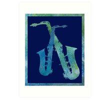 Cool Blue Sax Duet Art Print