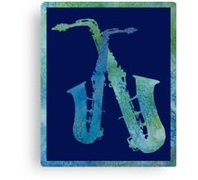 Cool Blue Sax Duet Canvas Print