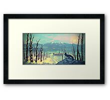Arctic Fox - Icy Winter Sunset Framed Print