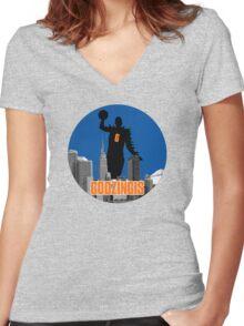 Godzingis- Blue Women's Fitted V-Neck T-Shirt