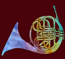 Colorwashed French Horn by PaintboxCollage