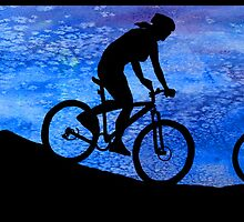 Three Mountain Bikers at Dusk by PaintboxCollage