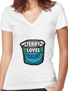 Terry loves yogurt Women's Fitted V-Neck T-Shirt