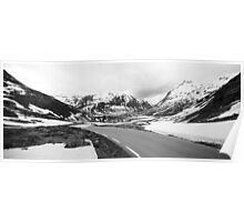 Road Rv64 Black and White, Norway 2012 Poster