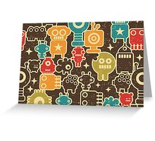 Robots on brown. Greeting Card