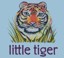 Little Tiger Peeking Through Grass Kids Tee