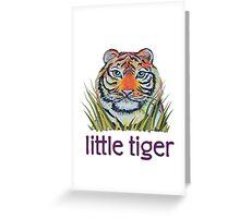 Little Tiger Peeking Through Grass Greeting Card
