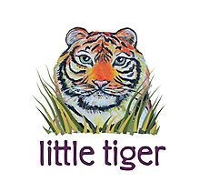 Little Tiger Peeking Through Grass Photographic Print