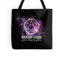 Open Art Studio - Galaxy Grunge Black Logo with Text Tote Bag