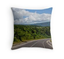 Landscape and tarmac road, Vanuatu, South Pacific Ocean Throw Pillow