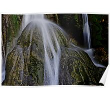 Waterfall flows over round rock, Vanuatu, South Pacific Ocean Poster