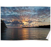 Sunset on water, Vanuatu, South Pacific Ocean Poster
