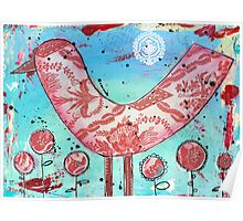 Red Bird - Mixed Media Poster
