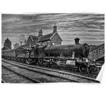 Great Western Railway Engine 2857 - Black and White Version Poster