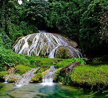 Calming flowing waterfall and pool, Vanuatu, South Pacific Ocean by Sharpeyeimages