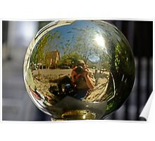 Me in a Shiny Railing Ornament Sphere Poster