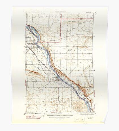 USGS Topo Map Washington State WA Hanford 241468 1924 62500 Poster