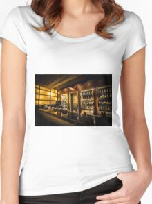 Digitally Enhanced interior of a bar Women's Fitted Scoop T-Shirt