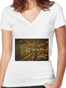 Digitally Enhanced interior of a bar Women's Fitted V-Neck T-Shirt