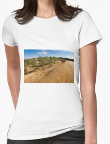 Tamarix trees on sand dune  Womens Fitted T-Shirt