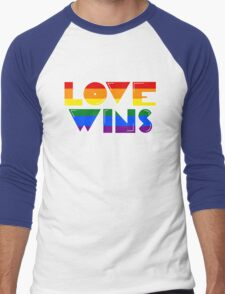 Love Wins Rainbow Gay Homosexual Lesbian Men's Baseball ¾ T-Shirt