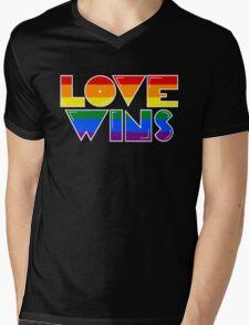 Love Wins Rainbow Gay Homosexual Lesbian Mens V-Neck T-Shirt