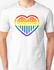 Rainbow Heart USA American Gay Homosexual Lesbian Unisex T-Shirt