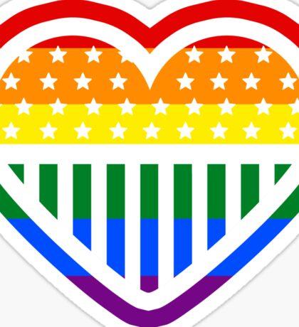 Rainbow Heart USA American Gay Homosexual Lesbian Sticker