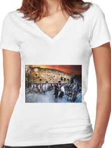 Wailing Wall, Old City, Jerusalem, Israel  Women's Fitted V-Neck T-Shirt