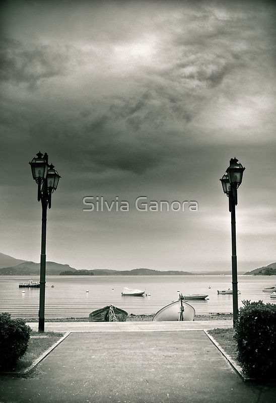 Street lamps on Lake Maggiore, Italy by Silvia Ganora