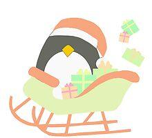 Penguin in Sleigh #1 by simplepaperplan