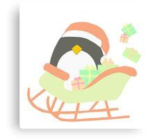 Penguin in Sleigh #1 Canvas Print