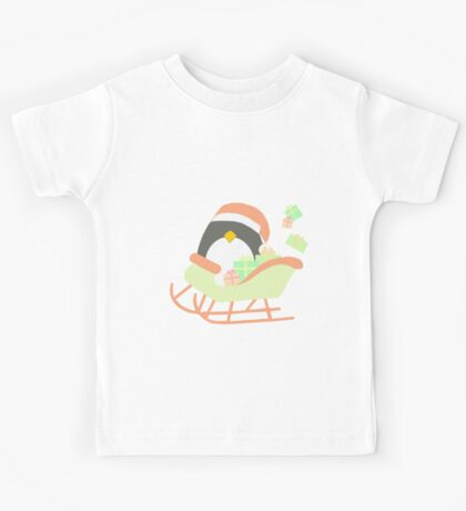 Penguin in Sleigh #1 Kids Tee