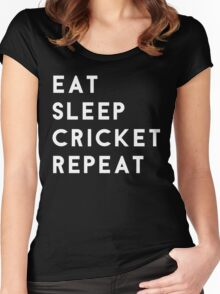 Eat Sleep Cricket Repeat Women's Fitted Scoop T-Shirt