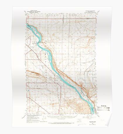 USGS Topo Map Washington State WA Hanford 241472 1965 62500 Poster