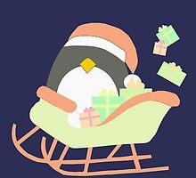 Penguin in Sleigh #2 by simplepaperplan