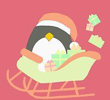 Penguin in Sleigh #3 by simplepaperplan